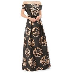 Nicole Miller New York metallic sunflower gown